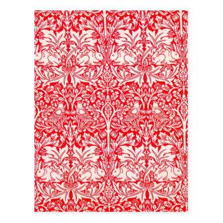 赤のウィリアム・モリスの兄弟のウサギパターン ポストカード