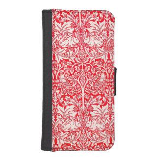 赤のウィリアム・モリスの兄弟のウサギパターン iPhoneSE/5/5sウォレットケース
