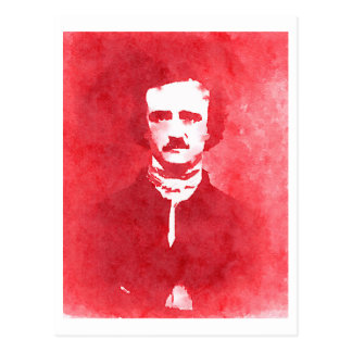 赤のエドガー・アラン・ポーのポップアートのポートレート ポストカード