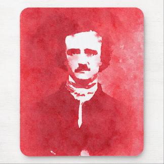 赤のエドガー・アラン・ポーのポップアートのポートレート マウスパッド
