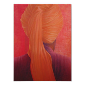 赤のオレンジターバン ポスター
