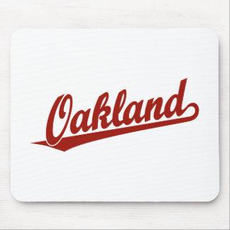 赤のオークランドの原稿のロゴ マウスパッド