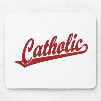 赤のカトリック教の原稿のロゴ マウスパッド