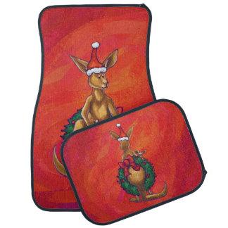 赤のカンガルーのクリスマス カーマット