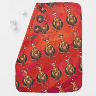 赤のカンガルーのクリスマス ベビー ブランケット