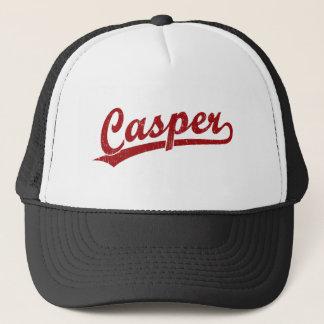 赤のキャスパーの原稿のロゴ キャップ