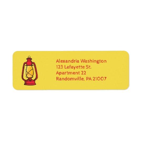 赤のキャンプのランタンの差出人住所ラベル 返信用宛名ラベル