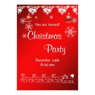 赤のクリスマスのパーティの招待状 カード
