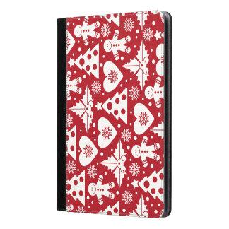 赤のクリスマスツリーそしてジンジャーブレッドマンパターン iPad AIRケース