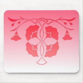 赤のケルト結び目模様のランチョンマットの花のステンシル、 マウスパッド