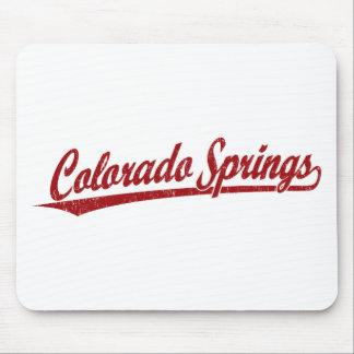 赤のコロラドスプリングスの原稿のロゴ マウスパッド