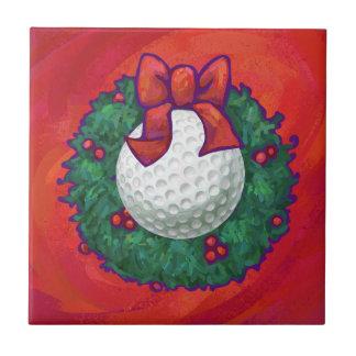赤のゴルフ・ボールのクリスマスのリース タイル