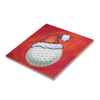 赤のサンタの帽子のゴルフ・ボール タイル