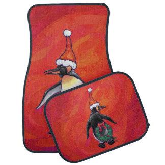 赤のサンタの帽子のペンギン カーマット