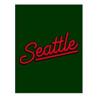 赤のシアトルのネオン ポストカード