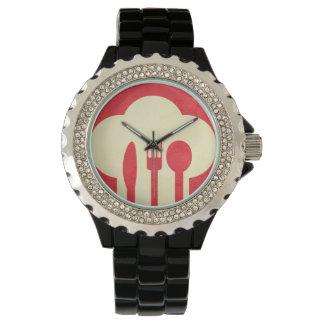 赤のシェフの帽子及び道具 腕時計