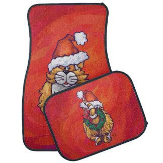 赤のショウガ猫のクリスマス カーマット