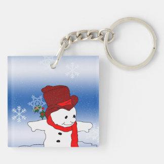 赤のスケートで滑るの雪だるま キーホルダー
