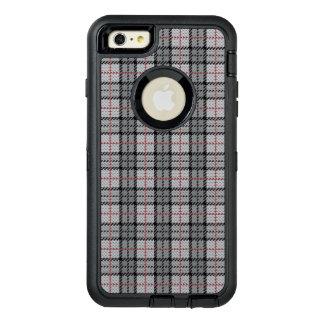 赤のストライプとの灰色のピクセル格子縞 オッターボックスディフェンダーiPhoneケース