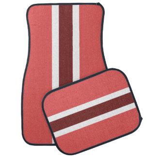 赤のストライプなカーマットのフルセット カーマット