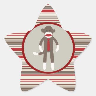 赤のストライプのタイを持つボスのソックス猿のように 星シール