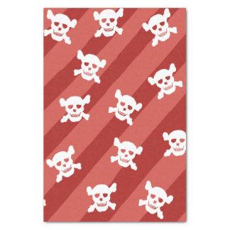 赤のストライプの大きく白いどくろ印 薄葉紙