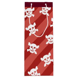 赤のストライプの白いどくろ印 ワインギフトバッグ