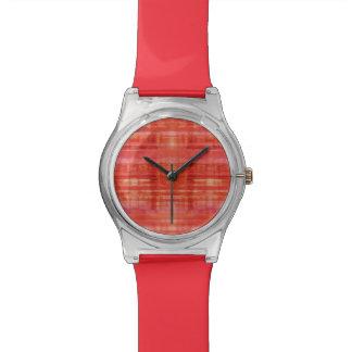 赤のストライプの芸術パターン 腕時計