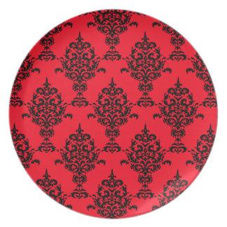 赤のダマスク織の黒 プレート