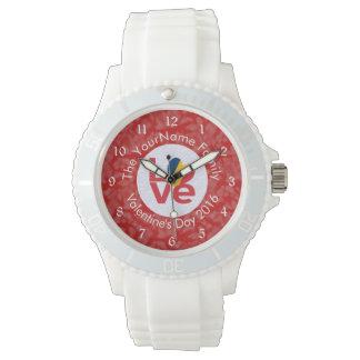 赤のチャド愛白 腕時計