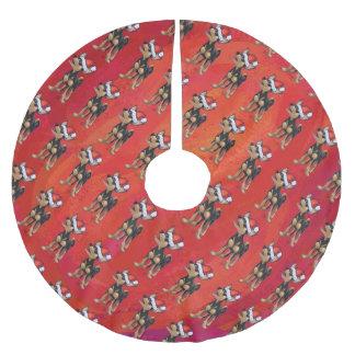 赤のチワワのクリスマス ブラッシュドポリエステルツリースカート