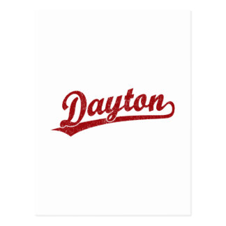 赤のデイトンの原稿のロゴ ポストカード