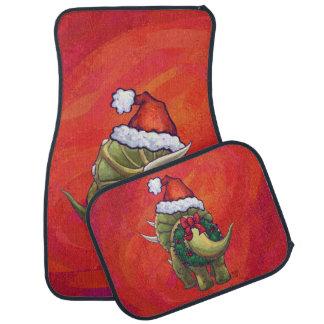 赤のトリケラトプスのクリスマス カーマット