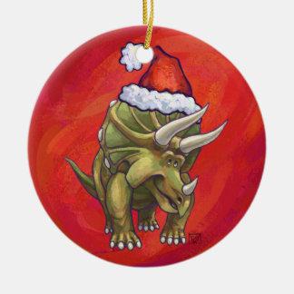赤のトリケラトプスのクリスマス セラミックオーナメント
