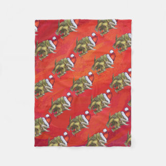 赤のトリケラトプスのクリスマス フリースブランケット