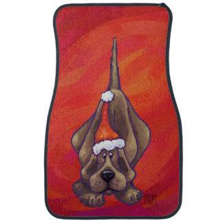 赤のハウンドドッグのクリスマス カーマット