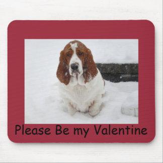 赤のバレンタインのマウスパッドのバセットハウンド マウスパッド