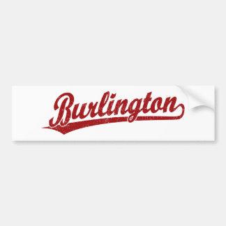 赤のバーリントンの原稿のロゴ バンパーステッカー