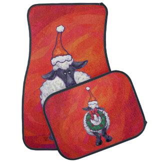 赤のヒツジのクリスマス カーマット