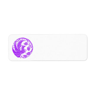 赤のフェニックスの昔ながらのな紫色の円 ラベル