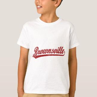 赤のブラウンズヴィルの原稿のロゴ Tシャツ