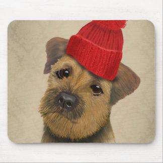 赤のボーダーテリアは帽子についてへまをします マウスパッド