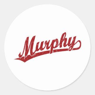 赤のマーフィーの原稿のロゴ ラウンドシール