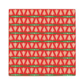 赤のモダンなホワイトクリスマスの木パターン ウッドコースター