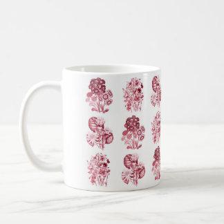 赤のモノクロ花 コーヒーマグカップ