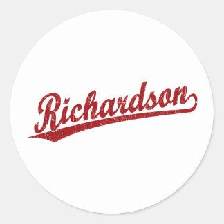 赤のリチャードソンの原稿のロゴ ラウンドシール