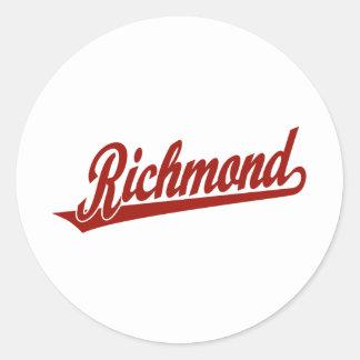 赤のリッチモンドの原稿のロゴ ラウンドシール