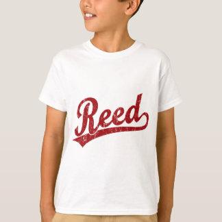 赤のリード原稿のロゴ Tシャツ