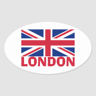 赤のロンドン 楕円形シール