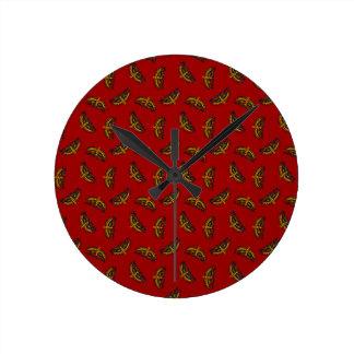 赤の中国のな蝶 ラウンド壁時計